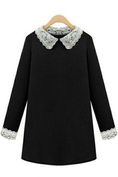 c4da19372c8 Chicloth Loose Plus Size Long-Sleeve Dress Peter Pan Collar