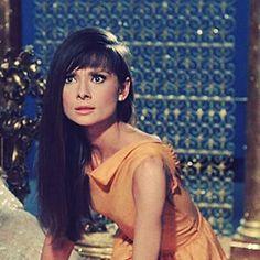 Audrey Hepburn with long hair.