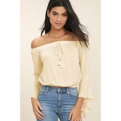 Festival Camp Cream Off-the-Shoulder Crop Top ($36) ❤ liked on Polyvore featuring tops, white, off shoulder bell sleeve top, white crop top, off the shoulder crop top, beaded crop tops and crop top