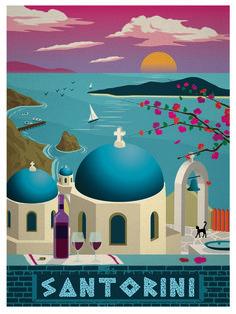 Vintage travel poster santorini greece / islands at sunset posters vintage, art deco posters, Kunst Poster, Poster S, Poster Prints, Art Prints, Photo Vintage, Vintage Art, Decor Vintage, Vintage Travel Posters, Vintage Postcards