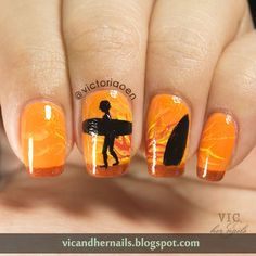 Vic and Her Nails: The Digital Dozen Does Summer - Day 5: Surfing