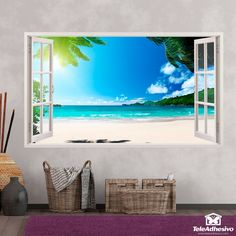 Design of a window with the Caribbean sea and two large islands in the background. Wall Stickers Window, Window Wall, Wallis, Versace Wallpaper, Photo Mural, Vinyl Paper, Open Window, Caribbean Sea, My New Room