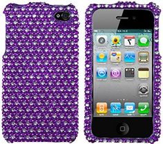 myLife Violet Purple + Shiny Silver {Jeweled Crystal Fancy Bling} 2 Piece Snap On Hardshell Plates Case for the iPhone 4/4S (4G) 4th Generation Touch Phone (Clip Fitted Front and Back Solid Cover Case + Rubberized Tough Armor Skin) myLife Brand Products http://www.amazon.com/dp/B00UK7Y7TI/ref=cm_sw_r_pi_dp_2fbjvb07XMNMH
