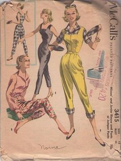 McCall's 3415 Vintage Sewing Pattern Rockabilly Vixen Pin Up Square Neck Capri Pants Jumpsuit, Romper, Pants & Wing Collar Blouse Vintage Dress Patterns, Clothing Patterns, Vintage Dresses, Vintage Outfits, Vintage Clothing, 1950s Dresses, Moda Retro, Moda Vintage, Retro Fashion