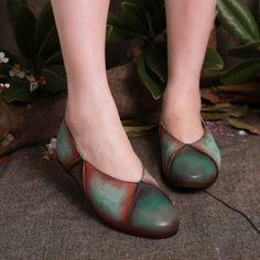 Комбинированные кожаные балетки с эффектом кракелюра