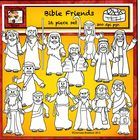 This free 16 piece set of bible characters includes Jesus, Moses, 12 Bible friends, 1 boy, a basket of loaves and fish.    They are all in black and ...