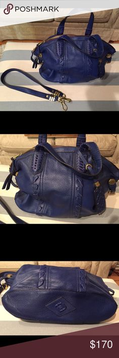 """💖HP💖 OrYANY Blue Cassie Satchel Pebbled Leather SPECIAL OFFER - choose any one purse charm/keychain for 50% OFF when you purchase this bag!   Royal blue, woven details, gold hardware, top zipper w/tassels, double handles & detachable shoulder strap. Super clean interior. Zippers work well. Minor scratches on metal from normal use. Only worn area I see is a very slight discolored edge on the bottom near one side.  • 100% Leather; 100% Cotton lining • 18""""W x 12""""H x 4.5""""D • 16"""" removable…"""