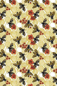 Honey Bee Hexagon by tiffanyheiger - Hand illustrated honey bees and honeycombs on fabric, wallpaper, and gift wrap. Geometric honey pods in vintage tones with orange flowers. The perfect bee themed pattern for making clutch bags or wallpapering an accen Orange Wallpaper, Fabric Wallpaper, Pattern Wallpaper, Vintage Wallpaper Patterns, Honeycomb Wallpaper, Wall Wallpaper, Hand Illustration, Pattern Illustrations, Art Design