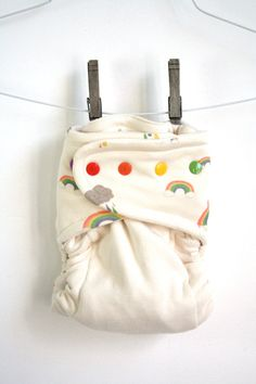 fitted cloth diaper  Happy Rainbows and Clouds