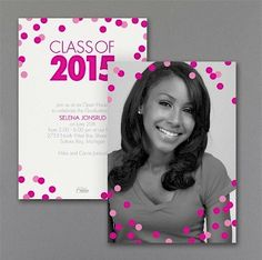 Confetti Dots Photo Graduation Invitation