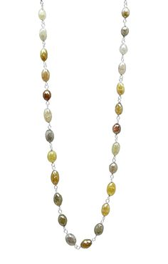 14K White Gold Mix Color Marquise Shape Rosary Beads by TIAARA (Also available in Yellow Gold )