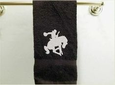 Bronc and rider embroidered design for the farmhouse bathroom decor. Borgmanns Creations Rodeo Decorations, Rustic Home Interiors, Embroidered Towels, Gifts For Horse Lovers, Western Theme, Family Events, Farmhouse Kitchen Decor, Love Gifts, Kids Room