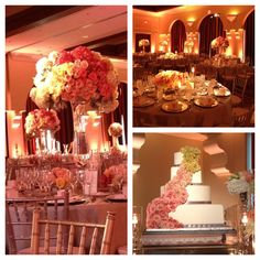 Wedding Reception- tall centerpieces, roses, ombre rose wedding cake www.aboutdetailsdetails.com