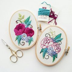 This listing is for two PDF files. These files contain an embroidery pattern and a beginner stitch guide. This listing does NOT include supplies or any finished product. This pattern is for personal use only. Please do not copy or resell finished product.  This pattern was originally designed as part of a kit featuring silk thread from The Thread Gatherer. I included suggestions for comparable colors from DMCs standard cotton embroidery floss. It is designed for a 3 x 5 inch hoop but if…