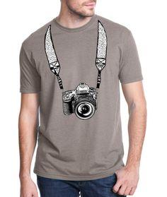 photography shirt - vintage design NIKON CAMERA - men's stone grey crew neck photography t-shirt.