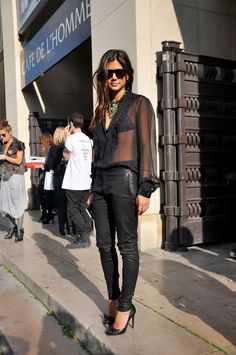 Christine Centenera #style | Sheer Blouse Leather Pants and Pumps
