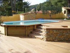 Piscine bois octogonale allongée semi enterrée Toulon Var La Garde Hyeres Bandol…