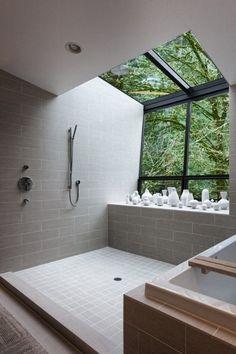 {Bthrm 2} Bathroom. Open Shower. Tub. Skylight. Nature. Window. Modern. Interior Design.