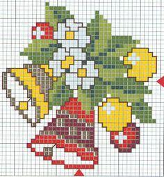 bells and cross stitch mistletoe Tiny Cross Stitch, Cross Stitch Borders, Modern Cross Stitch, Cross Stitch Flowers, Cross Stitching, Cross Stitch Embroidery, Cross Stitch Patterns, Crochet Patterns, Cross Stitch Christmas Cards