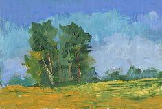 Original art oil aceo 44 minature daily painting landscape, art card 2.5x3,5 | eBay 6.00