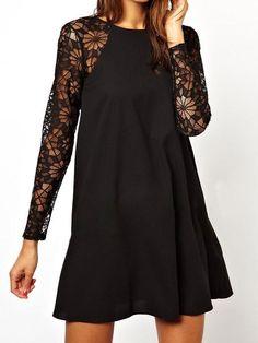 Black Lace Sleeve Shift Dress - MYNYstyle - 1