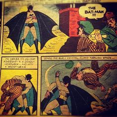 "1974 reprint of the first Batman comic from 1939. The comic book character Batman and many ""superhero"" characters first appeared during the 1930's."