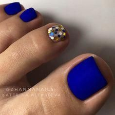 Matte Blue Nails ★ Explore trendy and classy, cute and elegant toe nails designs for summer and beach vacation. You will love our easy ideas. Creative Nail Designs for Short Nails to Create Unique Styles. Pretty Toe Nails, Cute Toe Nails, Fancy Nails, My Nails, Gel Toe Nails, Acrylic Nails, Gel Toes, Easy Toe Nails, Summer Toe Nails