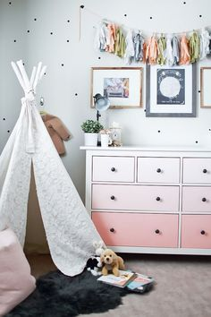 Girls room tour ikea hack diy ombre dresser polka dot walls lace teepee to Big Girl Bedrooms, Little Girl Rooms, Girls Bedroom, Ikea Girls Room, Polka Dot Walls, Polka Dots, Cool Kids Rooms, Dresser As Nightstand, Pink Dresser
