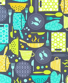 print & pattern: FABRICS - web round up-- how cute for kitchen textiles