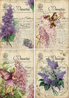 INSTANT DOWNLOAD diGiTal CollAge Sheet LiLACS ViNtage por bitmap, $4.25
