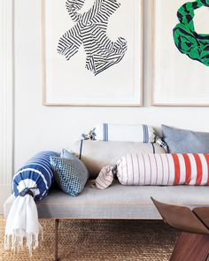 Add hints of classic Fourth colors by taking a favorite fouta towel or scarf and turning it into a bolster cover.