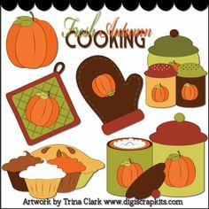 Autumn Kitchen 1 Clip Art - Original Artwork by Trina Clark