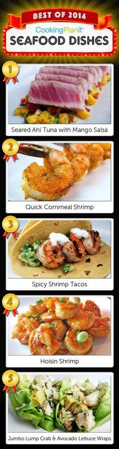 Seared Ahi Tuna with Mango Salsa Quick Cornmeal Shrimp Spicy Shrimp Tacos Hoisin Shrimp Jumbo Lump Crab and Avocado Lettuce Wraps