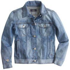 J.Crew Broken-In Jean Jacket ($135) ❤ liked on Polyvore featuring outerwear, jackets, tops, coats, blue jackets, fitted jacket, jean jacket, j crew jacket and fitted jean jacket