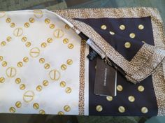 Borbonese 100 silk gold brown scarf italian original by Contrada, $210.00