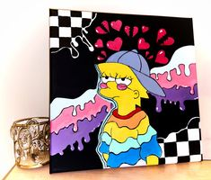 Easy Canvas Art, Simple Canvas Paintings, Small Canvas Art, Cute Paintings, Mini Canvas Art, Disney Canvas Art, Hippie Painting, Trippy Painting, Cartoon Painting