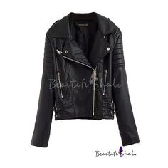 Black Notched Lapel Long Sleeve Back Print Biker Jacket (2,500 MKD) ❤ liked on Polyvore featuring outerwear, jackets, motorcycle jacket, black long sleeve jacket, black biker jacket, black motorcycle jacket and long sleeve jacket