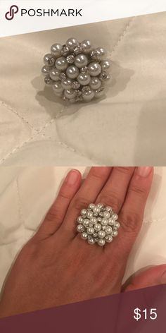 Beautiful Bombe ring Beautiful bombe ring! Pearl and crystal. Never worn!! Jewelry Rings