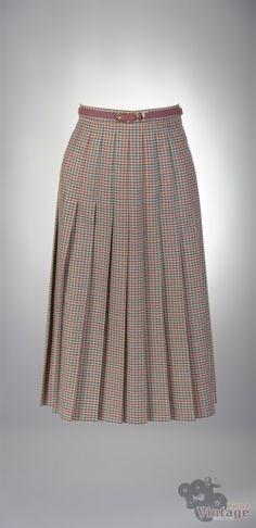 Vintage midi pleated autumn skirt