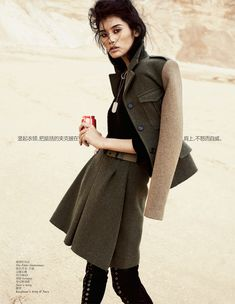 Ming Xi is army strong in Benny Horne's desert-located image featuring military inspired silhouette for Vouge China September 2012. Styled by Morgan Pilcher.