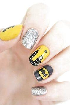Crazy Nail Art, Crazy Nails, Fancy Nails, Cute Nails, Pretty Nails, My Nails, Batman Nail Designs, Batman Nail Art, Superhero Nails