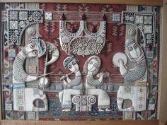 Tsolak Shahinyan -     clay, mixed media  & handmade carpet  on wood