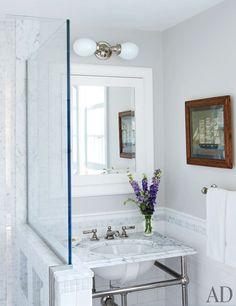 Light and bright bathroom.