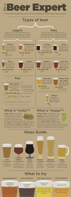 Infographic provides guidance for non-craft beer drinkers Beer Guide, types of beer, become a beer expert. Ever stand in the liquor store wondering what new beer to try yet thinking whether you will like it? All Beer, Wine And Beer, Beer 101, Good Beer, What Is Beer, Sake Wine, Beer Types, Different Types Of Beer, Beer Glass Types