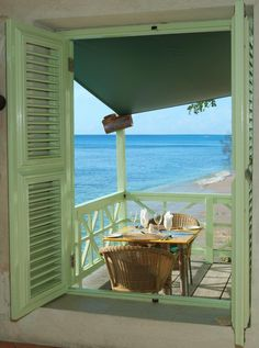 Barbados beach house balcony…lovely colours…Wouldn't you just love to ha… - All About Balcony Cottages By The Sea, Beach Cottages, Outdoor Spaces, Outdoor Living, Barbados Beaches, Dream Beach Houses, Window View, Side Window, Open Window