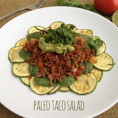 A recipe for paleo taco salad with baked zucchini chips. The zucchini chips are actually delicious! I didn't even miss tortilla chips. Paleo Taco Salad, Paleo Tacos, Taco Salad Recipes, Paleo Meals, Paleo Recipes, Soup Recipes, Paleo Cookbook, Zucchini Chips, Mexican Food Recipes