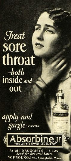 1927 Ad W F Young Inc Absorbine Jr Antiseptic Sore Throat Remedy Cure Vintage