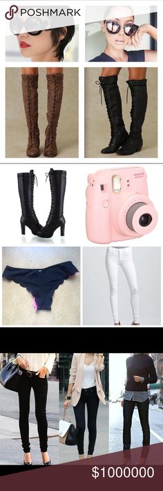 ISO ISO ISO. ❤️❤️❤️ In search of these items right now. Prefer to trade, but will be willing to purchase at a very good deal! ☺️ I found the 2 sunglasses I was looking for! 😍   Items:  ❤️ Black/Brown knee high lace up combat style boots with a heel size 5.5/6 ❤️ Fujifilm instax mini 8 camera in pink ❤️ VS scalloped cheeky bikini bottom in black size xs  ❤️ White skinny jeans in size 00/0  If you have any of these items and are willing to trade, please comment! Thanks. ❤️ Prada Other