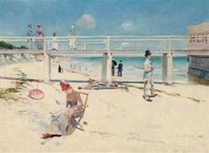"""CHARLES CONDER: """"A holiday in Mentone"""", c.1888 - oil on canvas, 46.2-60.8 cm. - Art Gallery of South Australia, Adelaide"""