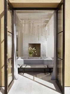 Indoor/outdoor - modern - living room - san diego - by Suite 102  Amazing silver drapes!